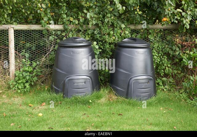 domestic composting bins stock image