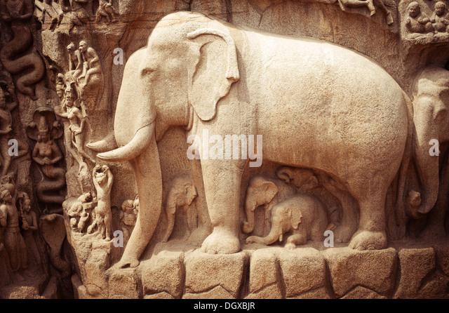 Mamallapuram stone carving stock photos