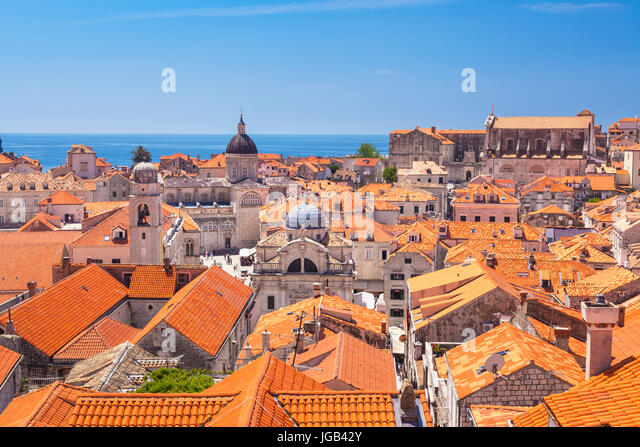 Croatia Dubrovnik Croatia Dalmatian coast view from city walls of the  red tiles rooftops towers of the old town - Stock Image