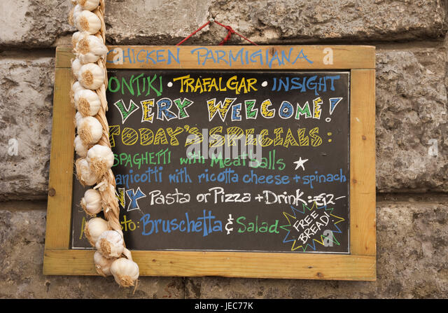 Italy Rome Typical Tourist Bar Outside Notice Board Menu