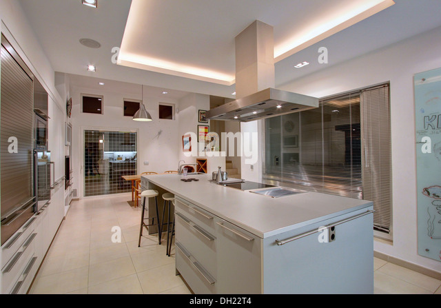 Kitchen Island Unit With Sink And Hob large extractor above hob in stock photos & large extractor above
