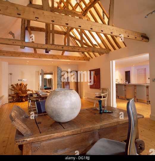 Open Plan Barn Conversion Beamed Stock Photos Open Plan