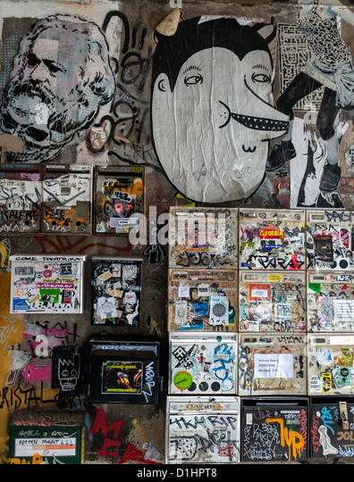 Mail boxes are covered in Graffiti and street art - Inner Courtyard of Haus  Schwarzenberg,