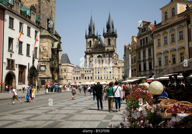 Prague old town cafe stock photos prague old town cafe for Prague square
