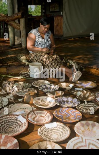 Basket Weaving Botswana : Weaving basket stock photos images