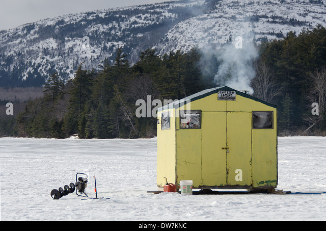 Ice fishing shack stock photos ice fishing shack stock for Maine ice fishing