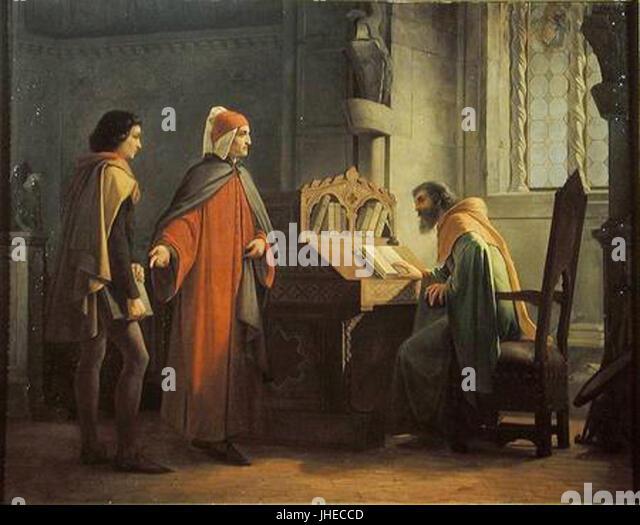 Giovanni Mochi - Dante Alighieri in atto di presentare Giotto a Guido da Polenta - Stock Image