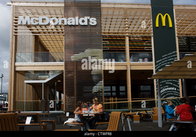 Spectators Dine Outside The Worlds Biggest McDonalds In Olympic Park During London 2012 Olympics