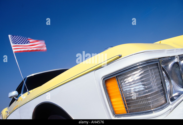 buick riviera car with american flag stock image