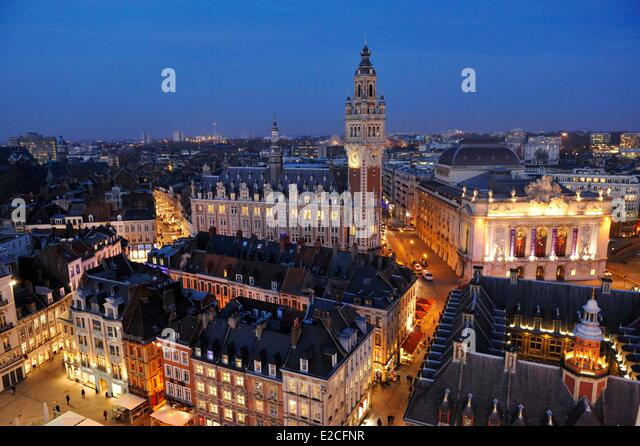 Lille grand place night stock photos lille grand place for Chamber of commerce france