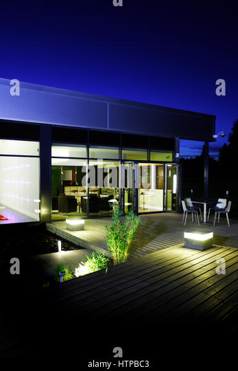 Decking at night stock photos decking at night stock for Office design cardiff