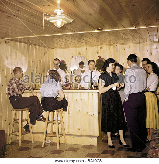 parties house party in the basement usa 1950s bar 50s people