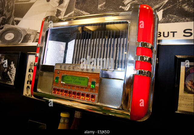 table jukebox. rock ola jukebox at a table in an american diner, san francisco usa - stock