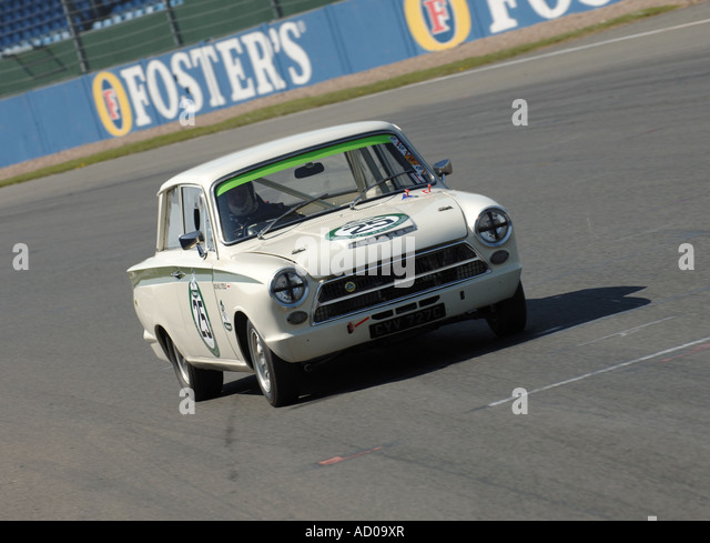 ford lotus cortina on track at silverstone historic gp series stock image