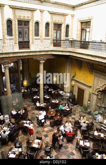 Interior architecture restaurant colonial stock photos for Los azulejos restaurante