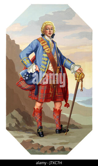 An illustration of Bonnie Prince Charlie (Charles Edward Stuart) 1720-1788, the Young Pretender. Shown posing in - Stock Image
