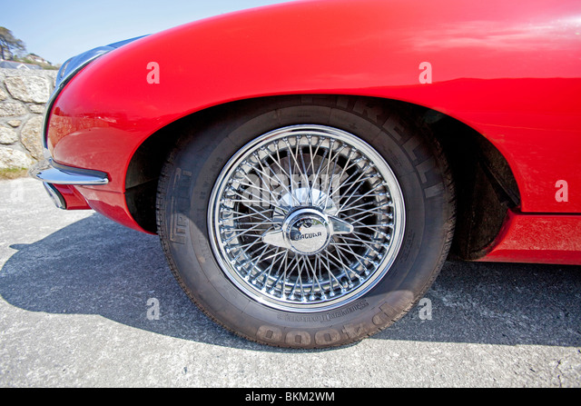 closeup of a wheel of a e type jaguar stock image