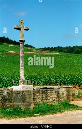The stone cross marking the Romanee Conti and Richebourg vineyards of Domaine de la Romanee Conti in Vosne Romanee, Bourgogne Stock Photo