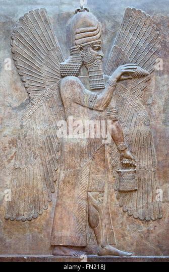 Assyria winged bull stock photos