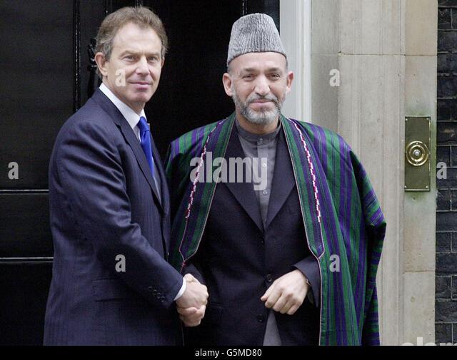 blair and afghanistans interim leader hamid karzai stock image