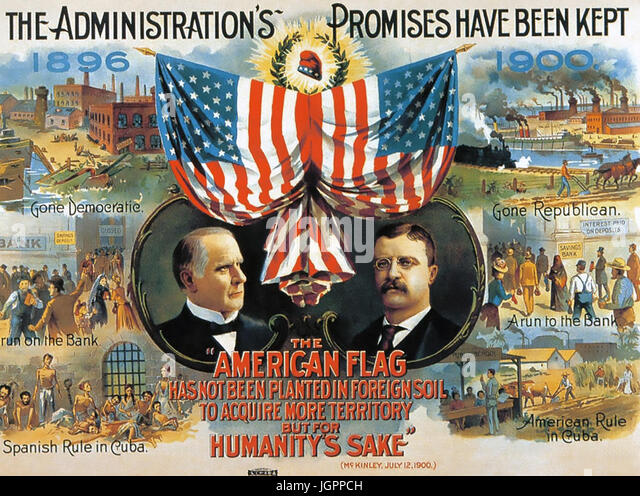 AMERICAN 1900 PRESIDENTIAL ELECTIONS Republican poster with President William McKinley at left and his Vice Presidential - Stock Image