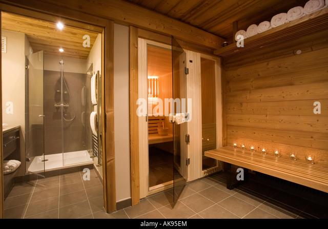 Shower And Sauna In Alpine Chalet In Chamonix   Stock Image
