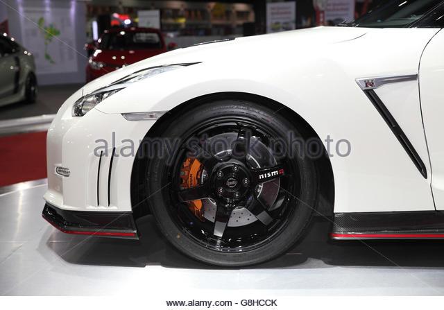 BANGKOK   June 24: Close Up Whell Of Nissan GTR Nismo Car On Display At
