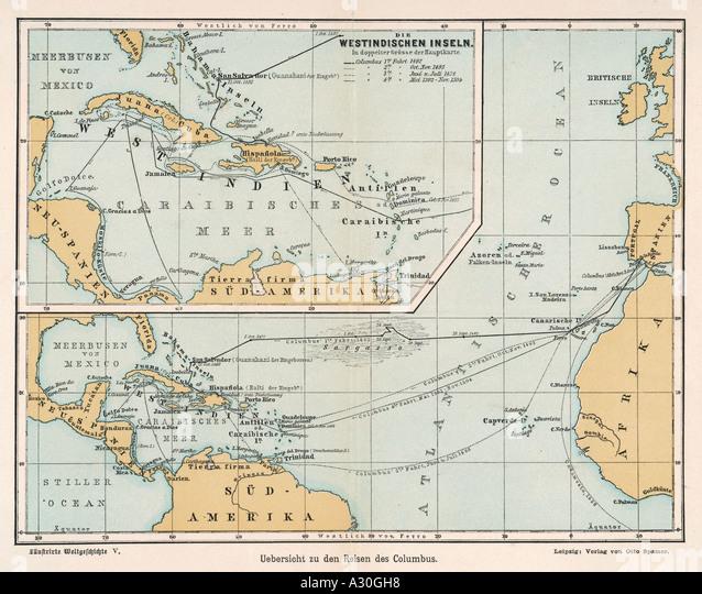 Christopher Columbus Map Stock Photos Amp Christopher