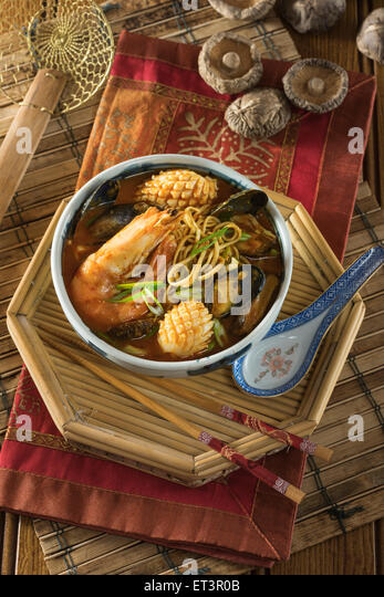 Korean Seafood And Noodle Soup Korea Food Stock Image