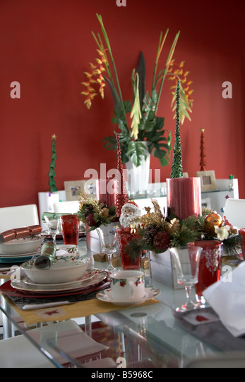 Table christmas decorations stock photos