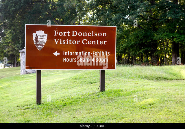 Fort Donelson National Battlefield Tennessee Visitor Center Sign Stock Image