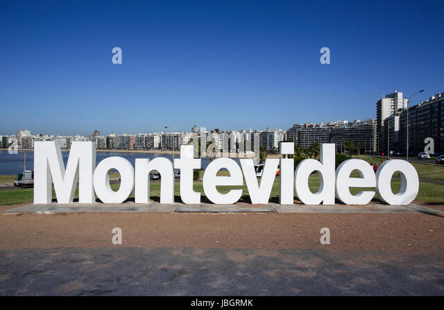 View of Montevideo sign at La Rambla, Montevideo, Uruguay - Stock Image
