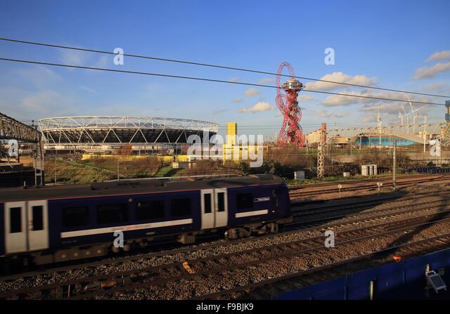 Train Passing The Queen Elizabeth Park Stadium Future Home Of West Ham Football Team