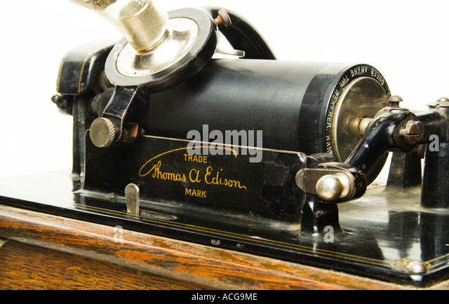 Close Up Of Thomas Edisons Wax Cylinder Phonograph