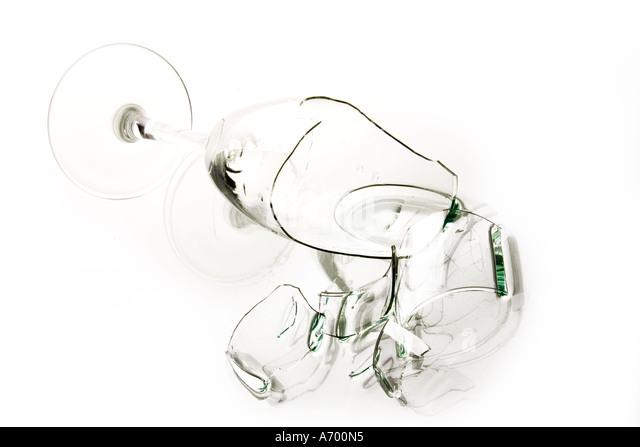 Broken Champagne glass - Stock Image