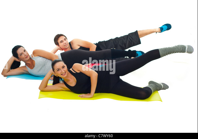Fitness Practice Group Three Fit Stock Photos & Fitness ...