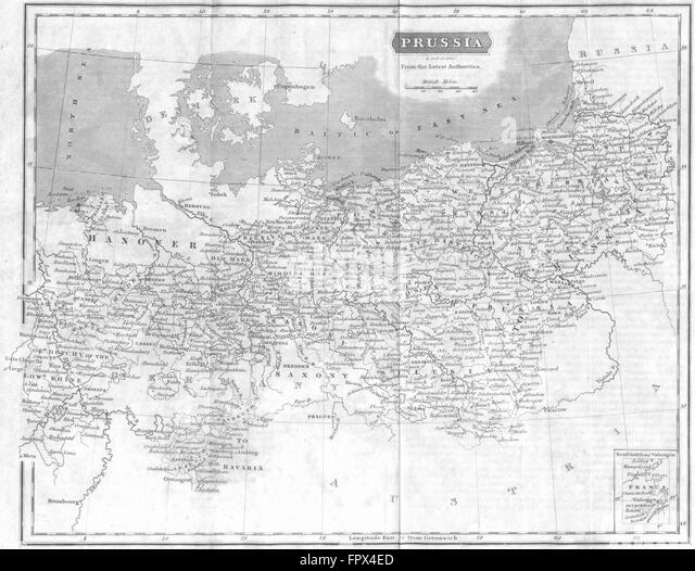 Germany Prussia Gracie 1823 Antique Map Stock Image