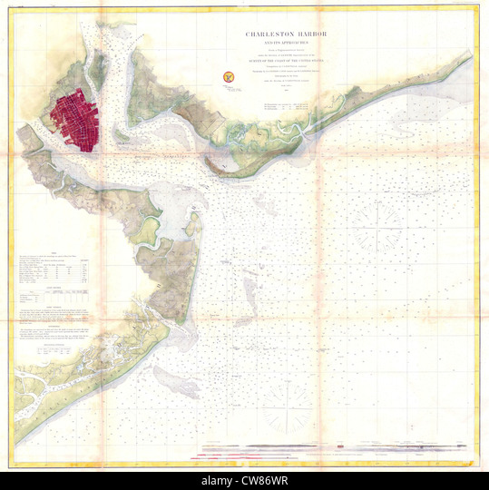 Map Of Charleston Harbor Stock Photos Map Of Charleston Harbor
