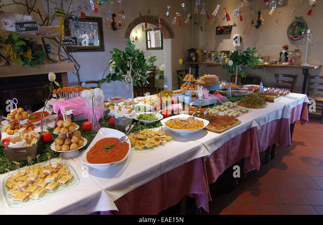 Table Set For Buffet With Typical Tuscan Products   Stock Image