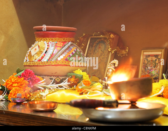 Hindu Hinduism Religion Religious Worship Of Navratri And Festival Of Lights With Puja At Home With