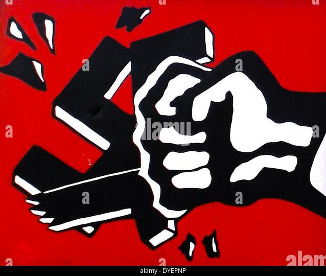 Antifa Spray Painting Swastikas