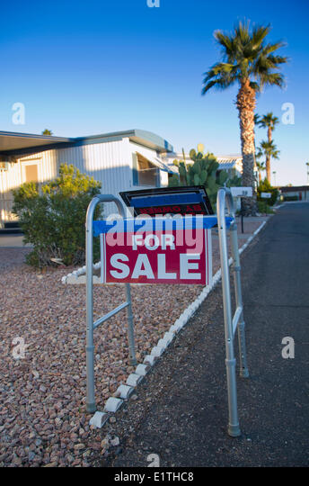 For Sale Sign On Walker In Mobile Home Park Phoenix Arizona USA