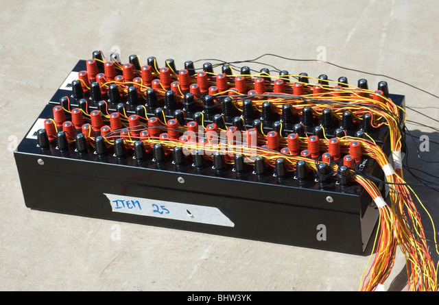 professional fireworks launching box with red and black fuses connected bhw3yk box of explosives stock photos & box of explosives stock images  at creativeand.co