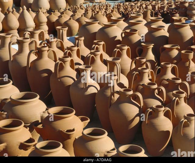 Ceramic Pots For Sale Part - 45: Terracotta Pots For Sale, Portugal, The Algarve - Stock Image