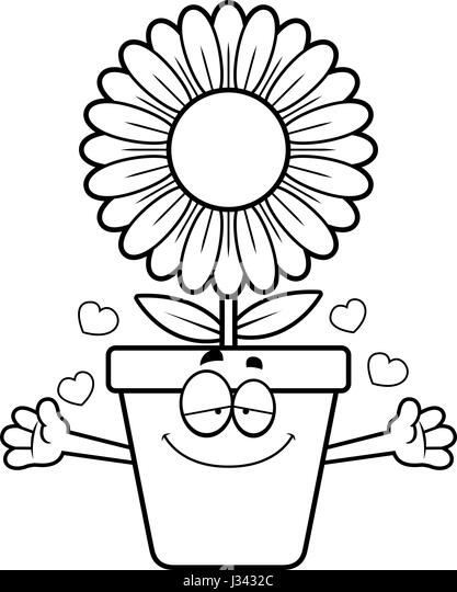 A Cartoon Illustration Of Flowerpot Ready To Give Hug