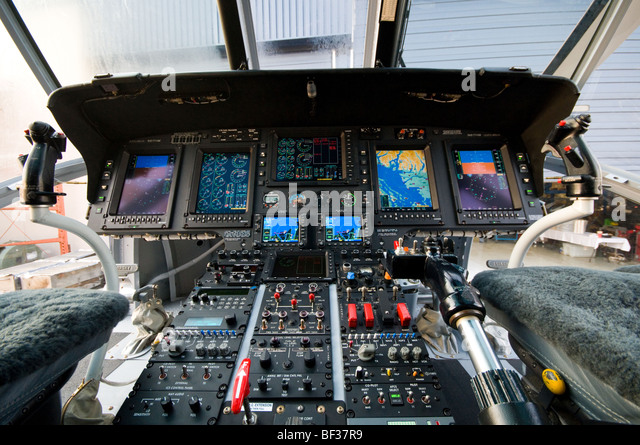 Wide angle view of helicopter flight from inside cockpit