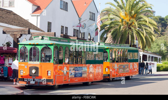 Old Town Trolley Tour Buses Near San Diego California USA