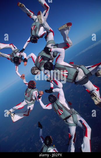 A skydiving team right after eiting a Twin Otter during a training camp in Deland, Florida - Stock Image