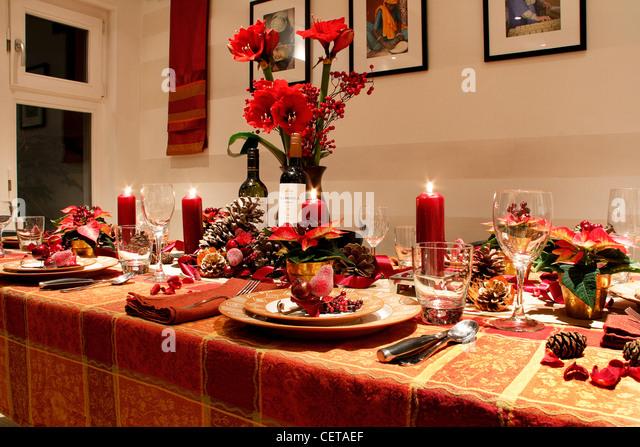 Table Prepared For Christmas Dinner Stock Photos & Table Prepared ...
