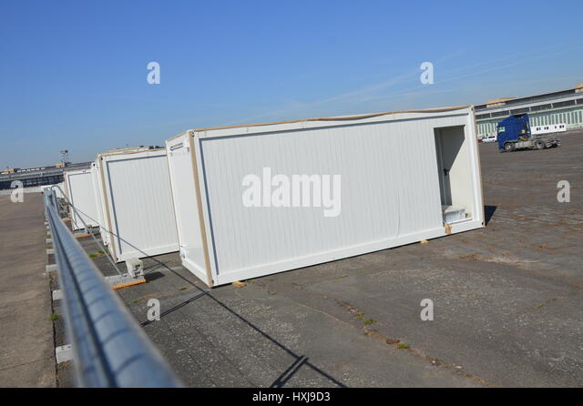 berlin germany container village refugees stock photos. Black Bedroom Furniture Sets. Home Design Ideas
